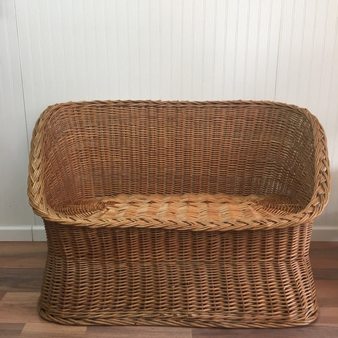 Wicker tub settee - natural rattan love seat - 1970s - NextStage Vintage