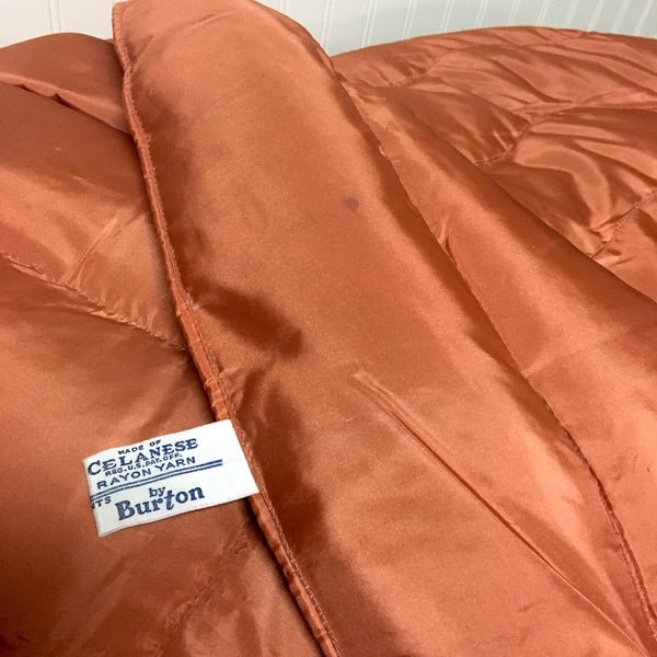Rayon taffeta double bed comforter quilt by Burton - copper brown - vintage 1940s - NextStage Vintage