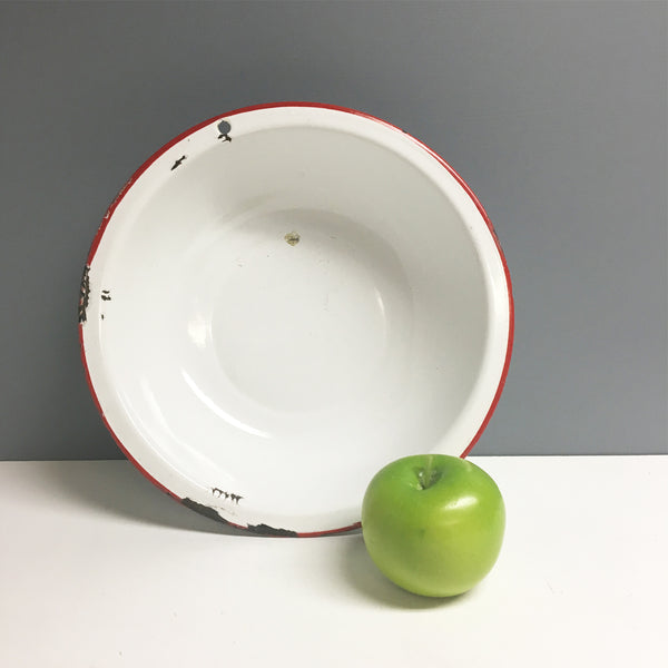 White and red enamelware basin - vintage 1950s bowl - NextStage Vintage