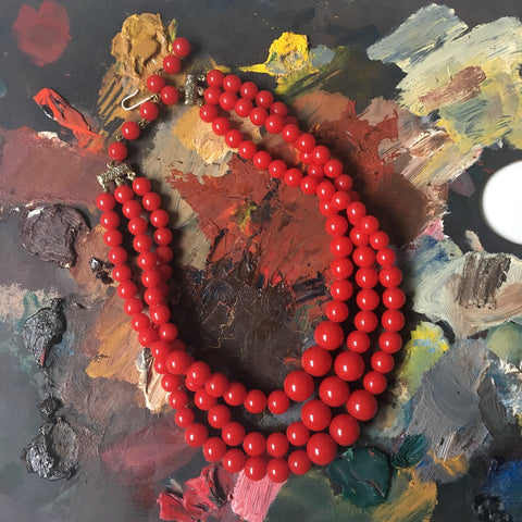 Red triple strand beaded necklace - graduated plastic beads - 1960s vintage