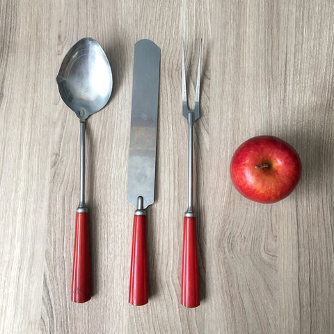 Red bakelite handle kitchen utensils - spatula, spoon, fork - vintage 1940s