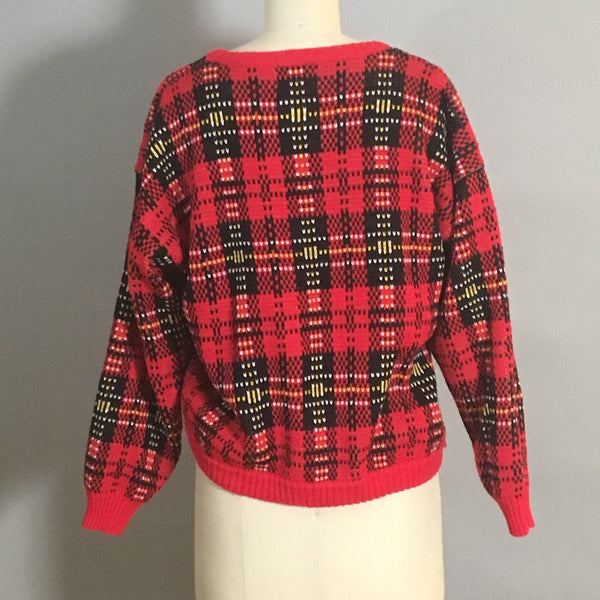 Large scale plaid pullover sweater - AJ and Friends - 1970s vintage knitwear - size M - NextStage Vintage