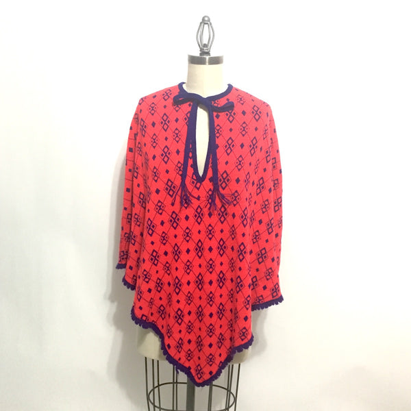 Argyle poncho - 1960s pullover - scarlet red and cobalt blue - size medium - NextStage Vintage