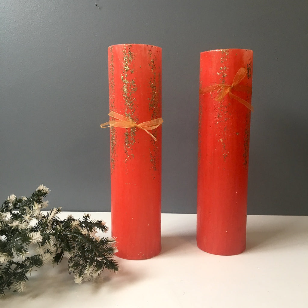 Red and glitter Christmas pillar candles - a pair - 1960s vintage - NextStage Vintage
