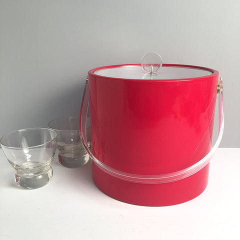 Red vinyl ice bucket by Shelton-Ware - vintage 1970s barware - NextStage Vintage