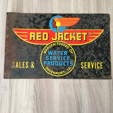 Red Jacket Water Service Products - Davenport IA - metal sign by Donaldson Art Sign Co.