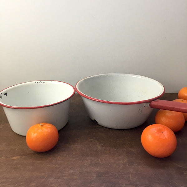 Red and white enamel pans - set of 2 - 1940s kitchen cookware - NextStage Vintage