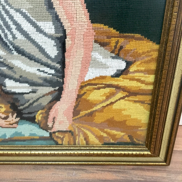 Regency woman needlepoint - Jane Austin style art - 1960s - NextStage Vintage