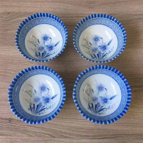 Blue and white floral rice bowls - porcelain set of 4