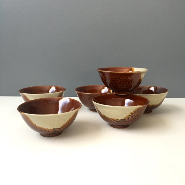 1970s rice bowls - set of six vintage dip glazed bowls - NextStage Vintage
