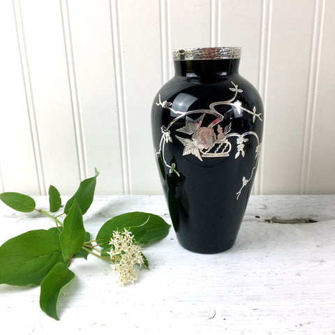 Rockwell Silver overlay on black glass vase - 1920s art deco style - NextStage Vintage