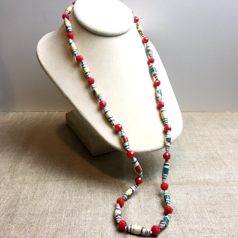Rolled paper bead necklace - handmade vintage - 1960s vintage