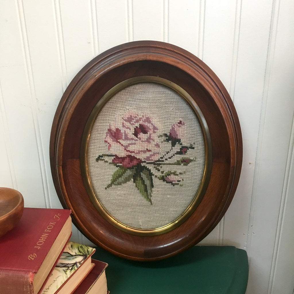 Rose needlepoint in Victorian oval frame - framed needlework - 1940s - NextStage Vintage