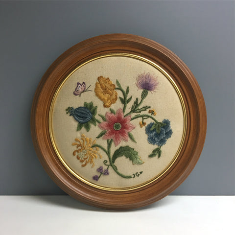 Round Jacobean crewel embroidery - vintage 1970s needlework