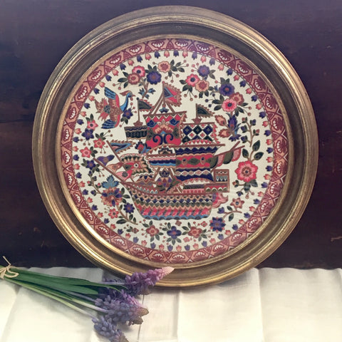 Round framed European folk textile - birds, ship, flowers - 1960s - NextStage Vintage