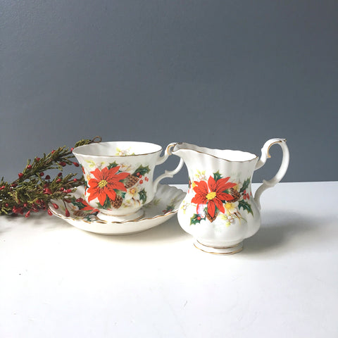 Royal Albert Yuletide tea cup and creamer - 1990s vintage - NextStage Vintage