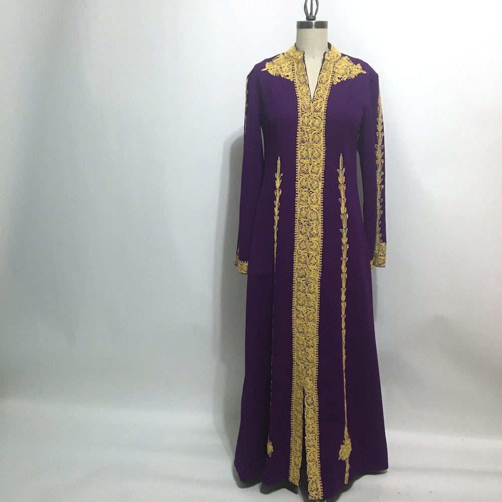 Plum purple and gold soutache hostess gown - 1960s vintage loungewear - NextStage Vintage