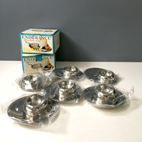 6 RSVP International Endurance stainless steel egg cups - NIB - NextStage Vintage