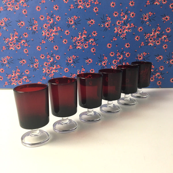 Luminarc France Cavalier Ruby cordial glasses - set of 6 - vintage 1980s - NextStage Vintage