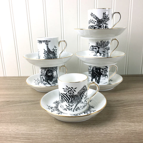Royal Staffordshire African animal demitasse set of 6 - vintage china set - NextStage Vintage