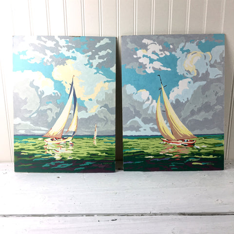 """Tacking"" and ""Summer Sails""  Craftint paint-by-number paintings - 1950s vintage"