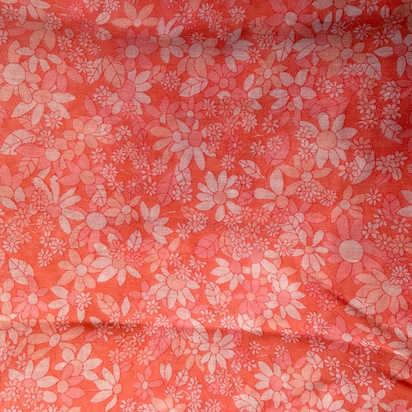 Lightweight shades of salmon pink floral cotton - 2yds - sheer 1970s vintage fabric - NextStage Vintage