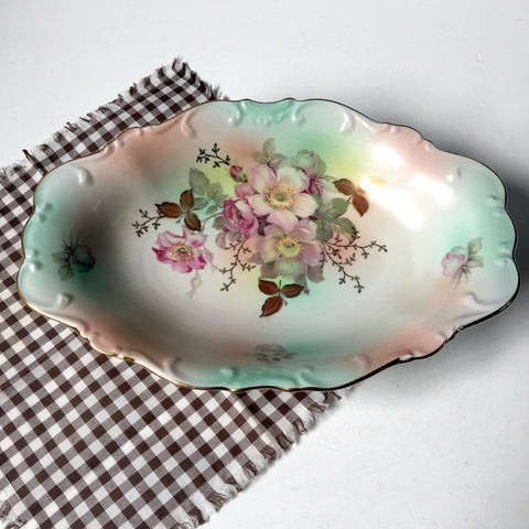 Schumann Arzberg Wild Rose vegetable dish - 1940s vintage china - NextStage Vintage