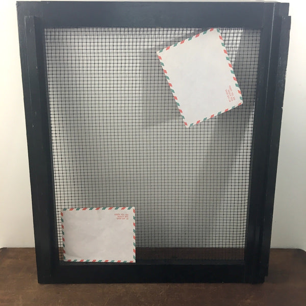 Black framed hardware cloth window screens - for home storage and decor - 1960s - NextStage Vintage