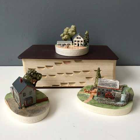 Sebastian Miniatures Massachusetts buildings - Wayside Inn, Country Store, Sebastian Studio - signed 1980s vintage