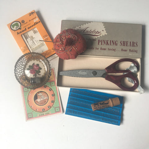 Sewing tool assortment - 8 piece vintage collection for use and decor - NextStage Vintage