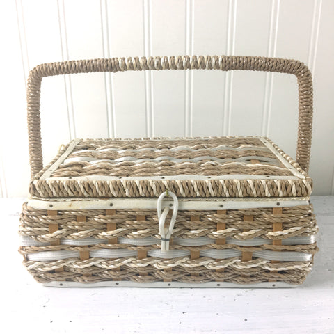 Sewing basket - vintage coated sisal storage - made in Japan