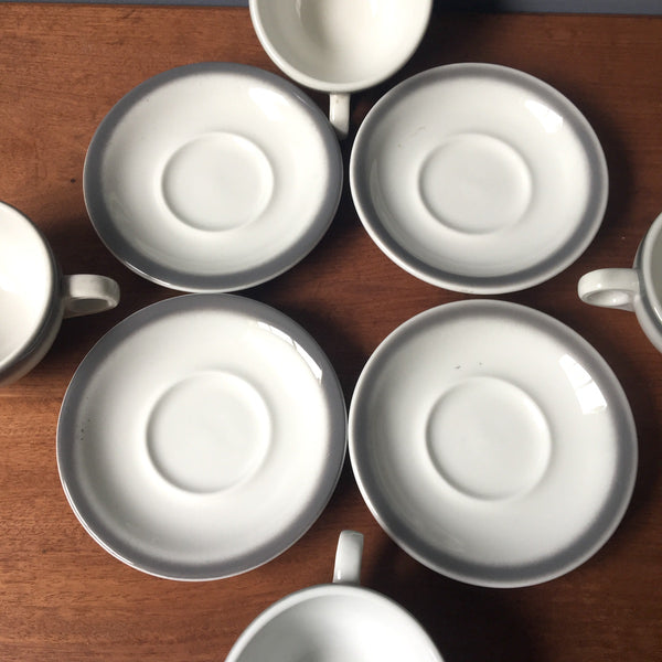 Shenango restaurant ware cups and saucers - set of 4 - gray rim - 1960s vintage - NextStage Vintage