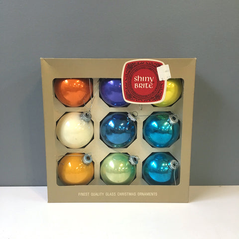Shiny Brite and friends vintage ornaments - 9 mixed colors with box - 1960s vintage