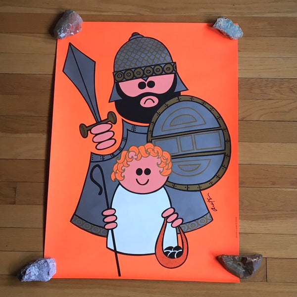 Harry Araten David and Goliath modern silkscreen by Shohar - vintage 1970s Biblical art - NextStage Vintage