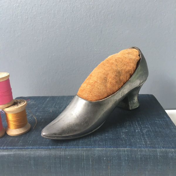 Metal ladies shoe pin cushion - antique sewing aid - NextStage Vintage