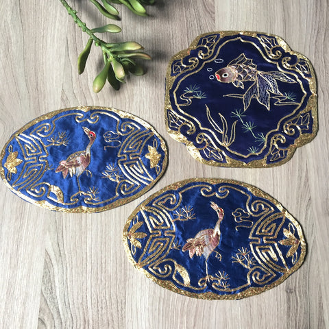 Silk embroidered Asian panels - set of 3 - 2 bird and 1 fish - made in Hong Kong - NextStage Vintage