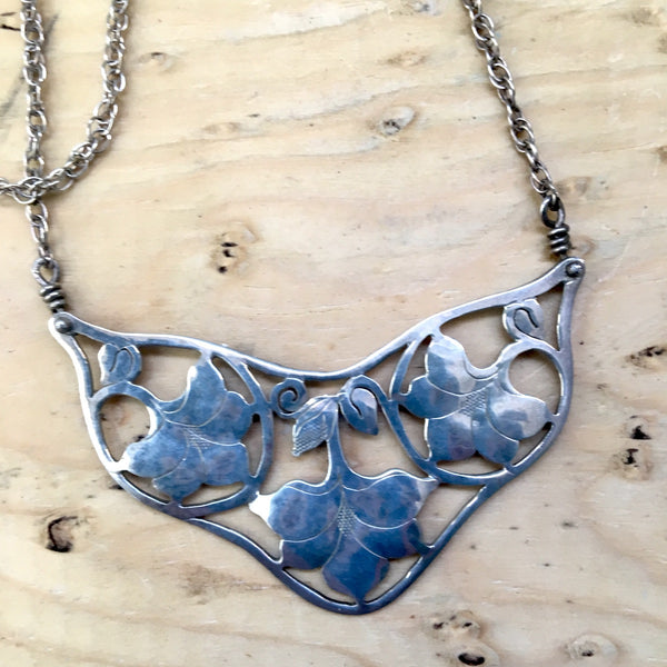 Sterling silver artisan flower necklace - art nouveau styling - NextStage Vintage