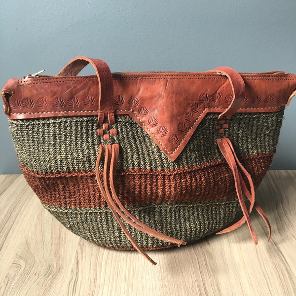 African leather and sisal shoulder bag - zipper top - NextStage Vintage