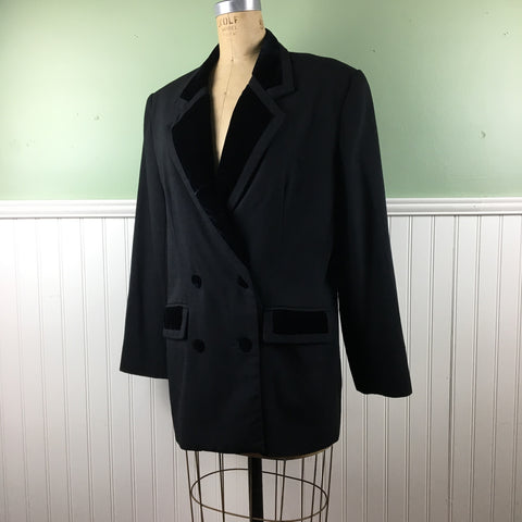 80s women's double-breasted tuxedo jacket - S.K & Company - size 12 - NextStage Vintage