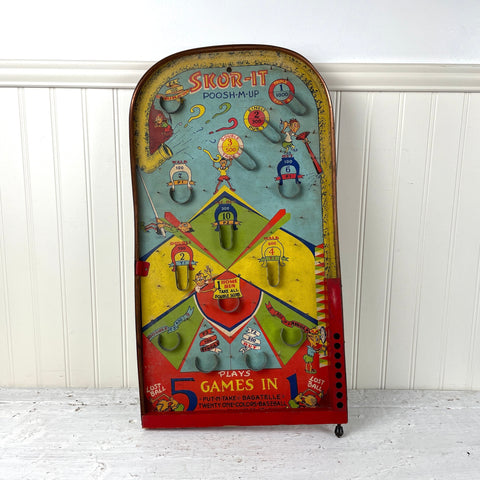 ZZ Skor-It Poosh-M-Up 5-games-in-one tabletop pinball / bagatelle game - 1930s vintage - NextStage Vintage
