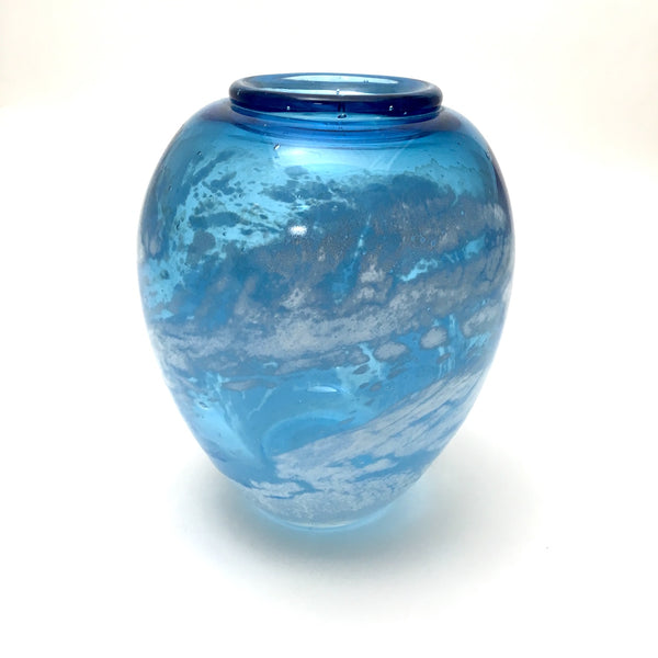 Studio art glass vase - sky blue with white swirl - signed