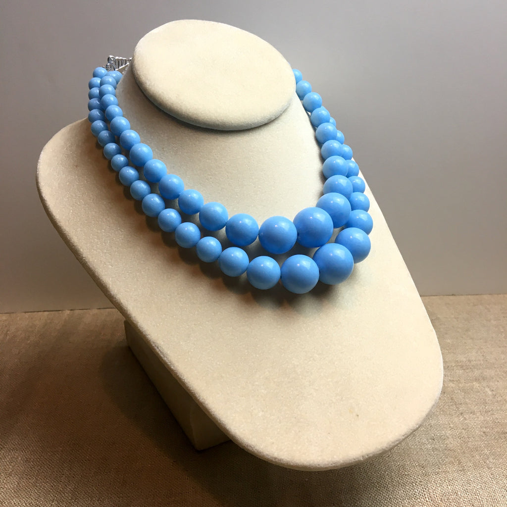 Sky blue plastic graduated bead necklace -two strands - 1960s vintage - NextStage Vintage