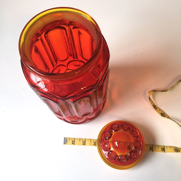 Smith Glass amberina canister - ombre apothecary jar - 1960s vintage - NextStage Vintage