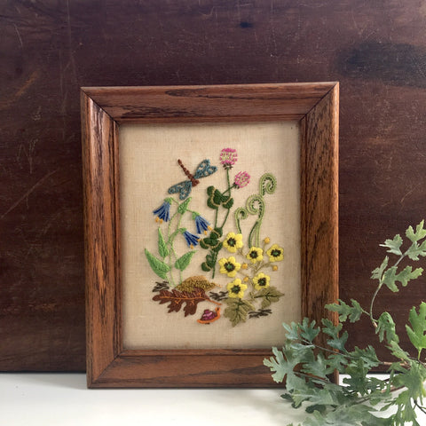 Crewel embroidery garden with snail - vintage framed needlework - NextStage Vintage