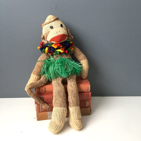 Vintage sock monkey - updated Hawaiian style