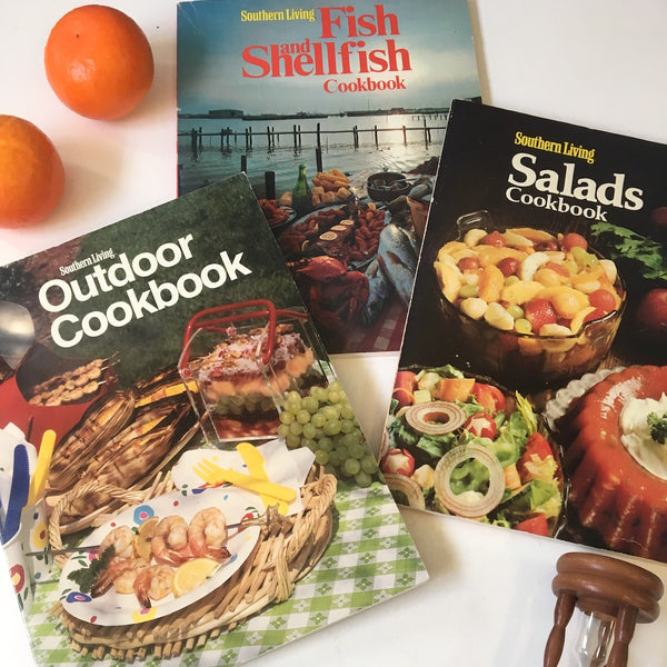 Southern Looking cookbook trio - Fish, Salads, Outdoors - vintage paperbacks - NextStage Vintage