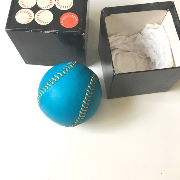 Spinneybeck leather baseball - turquoise with golden yellow stitching - with box - NextStage Vintage