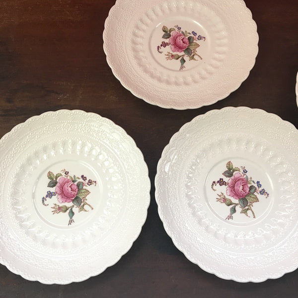Spode's Jewel Billingsley Rose Pink - lot of 5 saucers - old backstamp in red - vintage china - NextStage Vintage