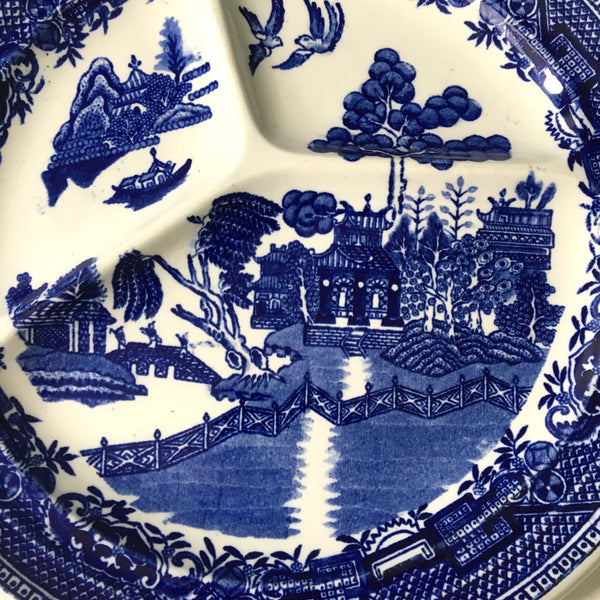 St. Amand blue Willow grill plates - set of 2 - vintage French pottery