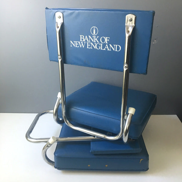 Vintage stadium chairs - qty 2 - blue with Bank of New England logo - 1980s - NextStage Vintage